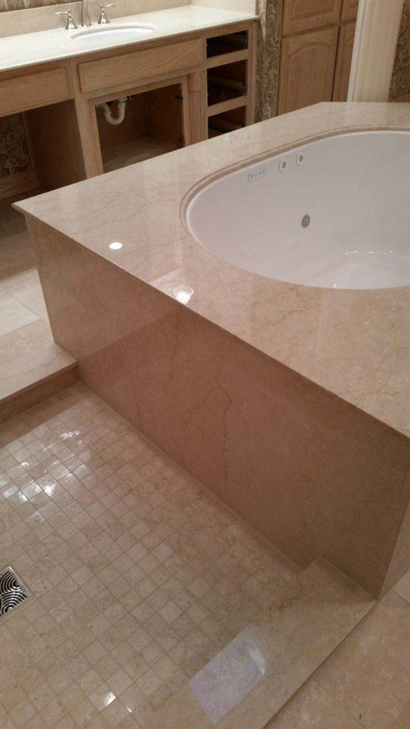 Crema Marfil Marble Tub & Walls
